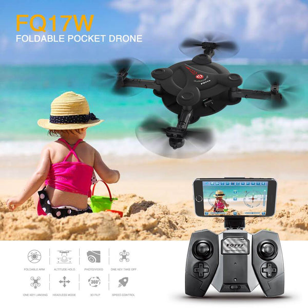 Clearance FQ777 FQ17W WIFI FPV Foldable Pocket Drone With 0.3MP Camera Altitude Hold Mode LED Headless RC Quacopter RTF Mini Toy