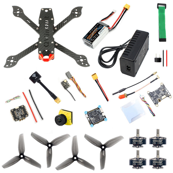 QWinOut three225 225mm Carbon Fiber Airframe with F4 Betaflight 5V 8V 3A Dual BEC OSD FC 1200TVL ND filter Camera 2306-2400kv Motors 4-in-1 BLHeli-S Dshot600 Firmware ESC 5144 Propellers 11.1V 1500MAH 40C XT60 Battery&Charge DIY Drone Kit BNF