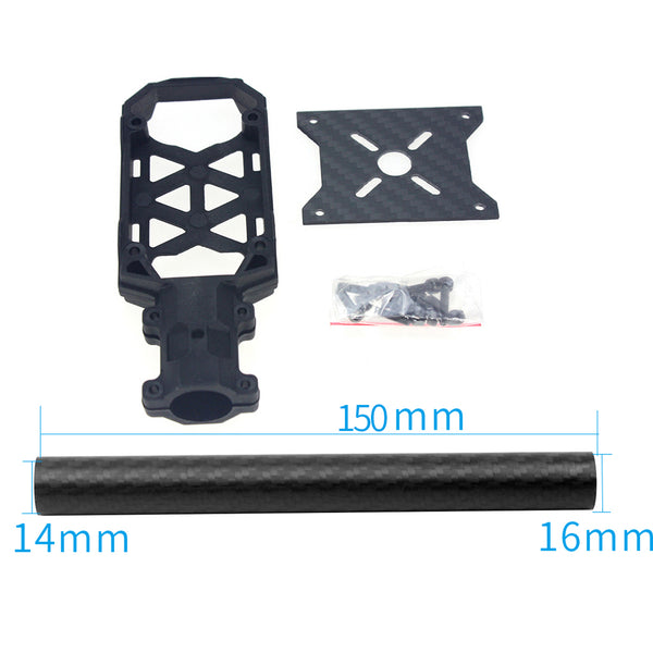 JMT 16MM*14MM*150MM 3K Carbon Fiber Tube with 16mm Clamp Type Motor Mount Plate Holder for 4-axle Aircraft RC Hexacopter DIY Copter Drone