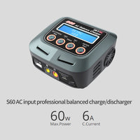 SKYRC S60 60W AC Balance Battery Charger Discharger for Remote Control Airplane RC Car Truck Multi Charging Modes 2-8S Battery
