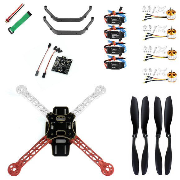 QWinOut DIY RC Drone Quadrocopter 4-axis Aircraft Kit F330 MultiCopter Frame KK XCOPTER Flight Control No Transmitter No Battery