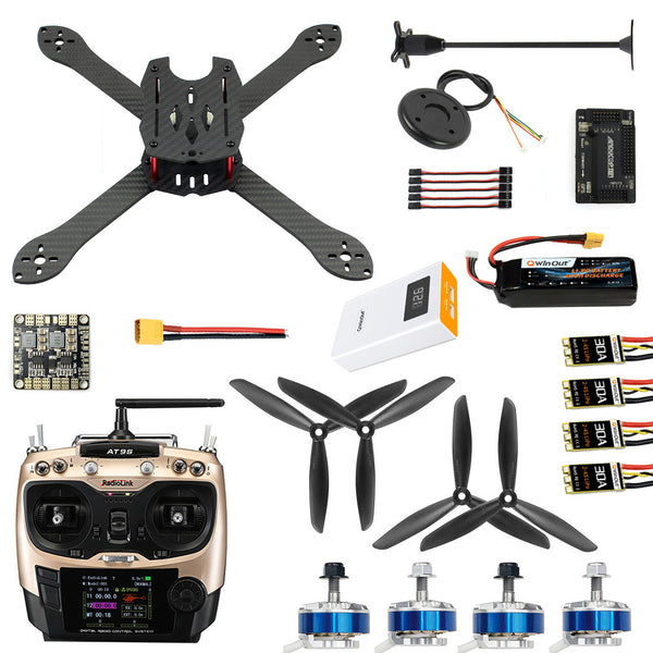QWinOut X300 300mm 2.4G 10CH RC Quadcopter Drone ARF RTF PNP DIY Combo Kit Brushless Drone GPS APM 2.8 with 3DR 433 Radio Telemetry 500MW OTG