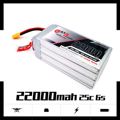 Gaoneng GNB 22000MAH 6S 25C 22.2V XT90 Lipo Battery Multi-axis Plant Protection Machine High Rate Lithium Battery for RC FPV Racing Drone