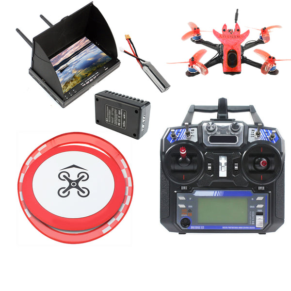 QWinOut Featherbird-135 135mm Brushless FPV Racing Drone 2S DIY RC Quadcopter RTF with MiniF4 FC Flysky FS I6 Remote Controller FPV Display Apron Racing Gate