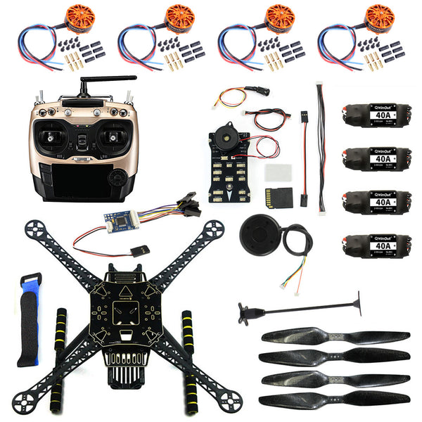 QWinOut S600 DIY FPV Drone 4 axis Quadcopter Welded Kit Unassembled w/ Pix2.4.8 Flight Control GPS 7M 40A ESC 700kv Motor AT9S TX