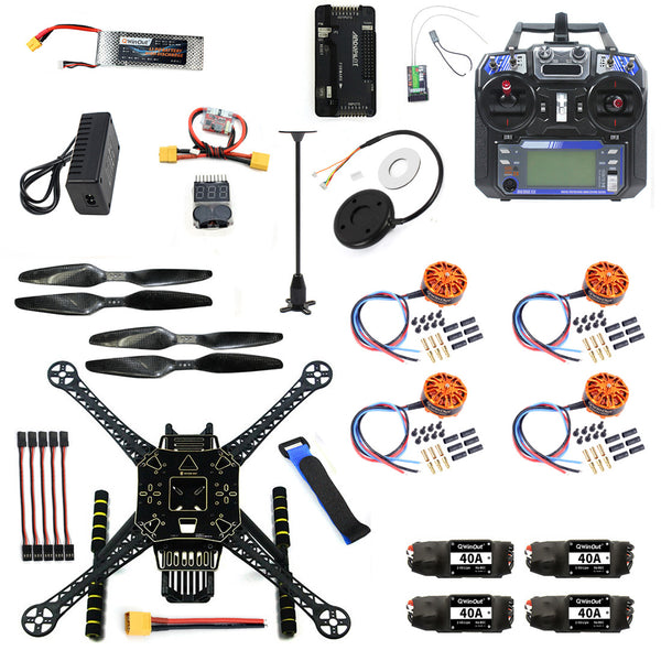 QWinOut DIY Quadcopter RC FPV Drone S600 Frame Full Kit with APM 2.8 No Compass Flysky FS-i6 TX Battery Charger Motor 40A ESC