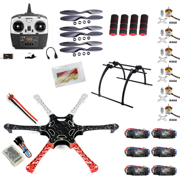 QWinOut F550 Drone FlameWheel Kit With QQ HY ESC Motor Carbon Fiber Propellers + RadioLink 6CH TX RX+Tall Landing Skid PTZ DIY RC Drone Kit