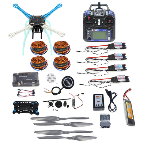 QWinOut S500 PCB Full Kit DIY GPS Drone APM2.8 500mm Multi-Rotor with 700KV Motor 30A ESC 6CH 9CH Transmitter 11.1V 4400MAH Battery