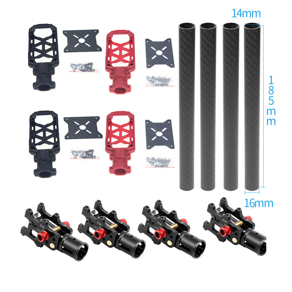JMT 4PCS 16MM*14MM*185MM 3K Carbon Fiber Tube with 16mm Clamp Type Motor Mount Plate Holder & Z16 Folding Arm Tube Joint for 4-axle Aircraft RC Quadcopter DIY Copter Drone