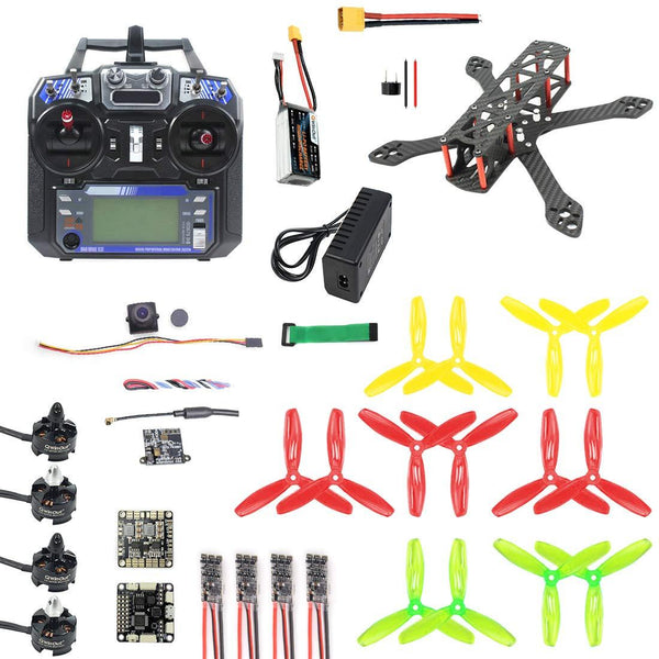 QWinOut T220 220mm DIY FPV Racing Drone Carbon Fiber Quadcopter Set with F3 FC 2300kv Motor 20A ESC 5.8G 40CH OSD VTX 700TVL PAL/NTSC FPV Camera (ARF Version)