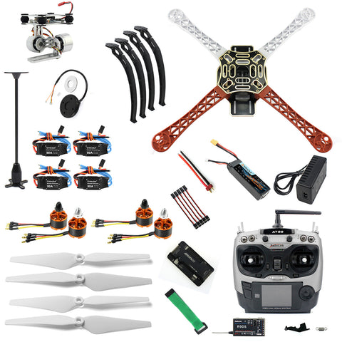 QWinOut Assembled HJ 450 F450 4-Aix RFT Full Kit with APM 2.8 Flight Controller GPS Compass & Gimbal FS DIY Drone Frame Kits