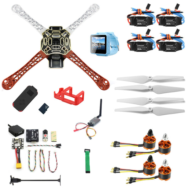 QWinOut DIY RC Drone Kit F450-V2 FPV Quadcopter with MINI PIX MINI GPS Q6 4K Wide Angle Action Camera FPV Watch / FPV Goggles