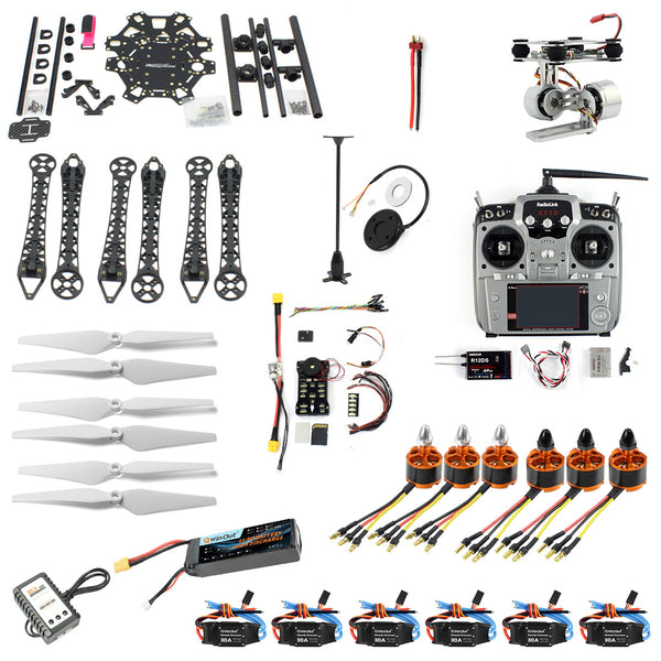 QWinOut DIY FPV Drone 6-axle Hexacopter Kit : HMF S550 Frame + PXI PX4 Flight Control + 920KV Motor + GPS + Gimbal Camera Mount + AT10 Transmitter
