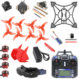 QWinOut T100 DIY Indoor FPV Racing Drone Kit with Skyzone 02X FPV Goggles Razer Micro 1200TVL FPV Camera
