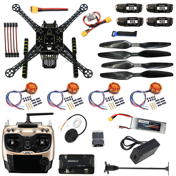QWinOut DIY Unassembled Full Quadcopter RC FPV Drone S600 Frame Kit with APM 2.8 No Compass 700KV Motor 40A ESC Battery Charger AT9S TX
