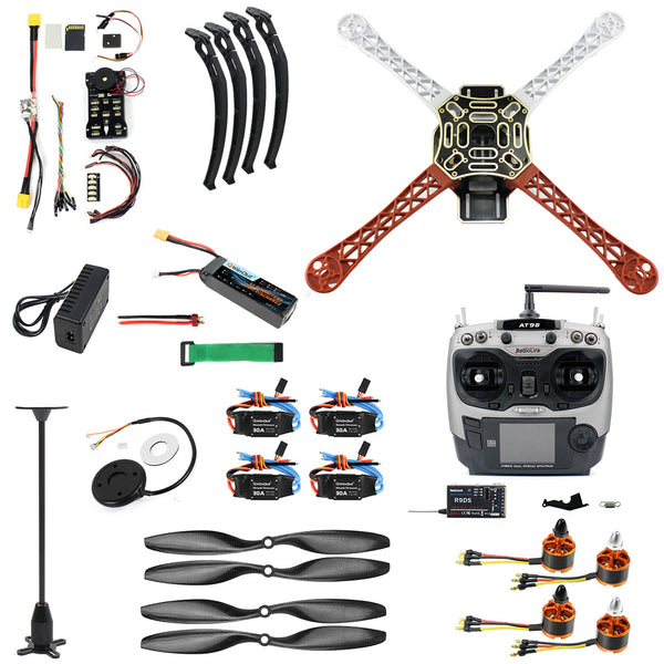 QWinOut DIY FPV Drone Quadcopter 4-axle Aircraft Kit: F450 Frame + PXI PX4 Flight Control + 920KV Motor + GPS + AT9 Transmitter + Props