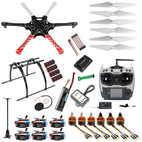 QWinOut DIY Assembled F550 6-Aixs RTF Full Kit with APM 2.8 Flight Controller GPS Compass with AT9S Transmitter RX No Gimbal