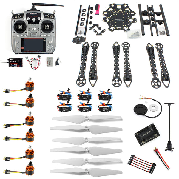QWinOut DIY RC Drone 6-axle Aircraft Kit HMF S550 Frame 6M GPS APM 2.8 Flight Control No Transmitter No Battery