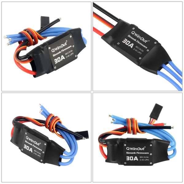 QWinOut 2-4S 30A RC Brushless ESC Simonk Firmware Electric Speed Controller with 5V 3A BEC for 2 to 4s Lipo Battery F450 F550 DIY Multicopter Quadcopter