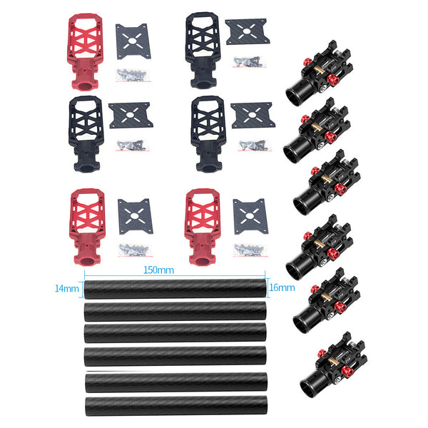 JMT 6PCS 16MM*14MM*150MM 3K Carbon Fiber Tube with 16mm Clamp Type Motor Mount Plate Holder & Z16 Folding Arm Tube Joint for 6-axle Aircraft RC Hexacopter DIY Copter Drone