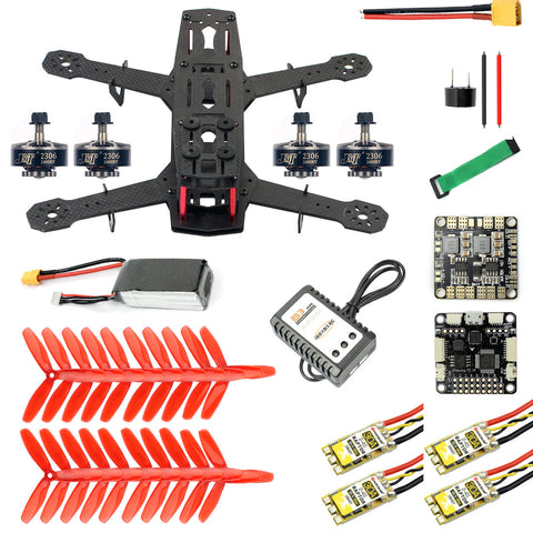 QWinOut Q250 DIY FPV Drone Quadcopter Accessories 250MM Carbon Fiber Frame SP Racing F3 FC Flycolor Raptor BLS Pro-30A ESC 2400KV Motor 11.1V 1500MAH 40C Battery