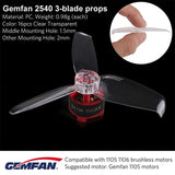 Gemfan Flash 2540 2.5x4 2.5 Inch PC 3-blade Propeller Prop 1.5mm Mounting Hole for 1105 Motor RC Drone Quadcopter