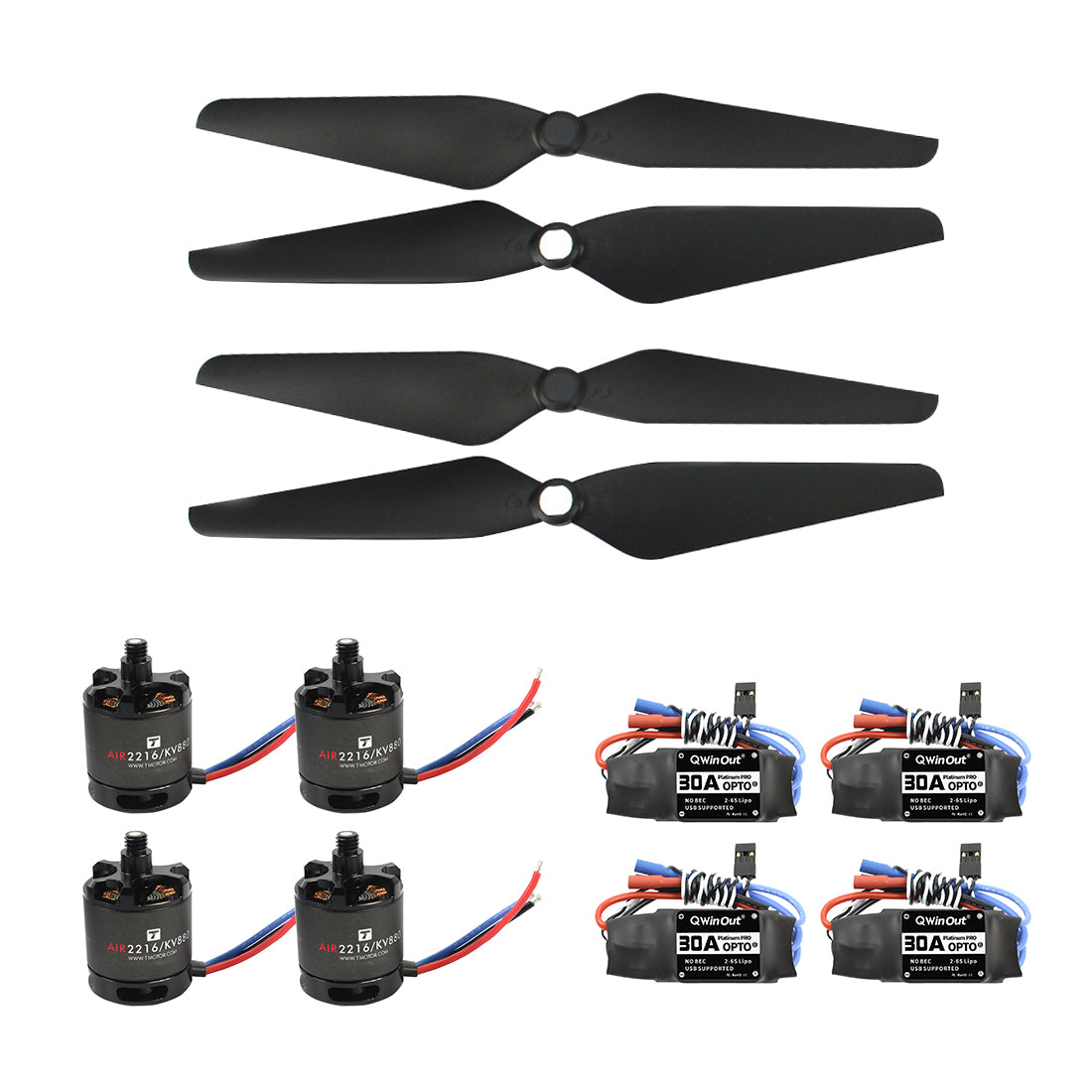 T-Motor Air Gear 450 Power Air2216+T1045 Combo AIR2216 880KV 4 Motor+4 1045 Propellers + 30A ESC for DIY RC FPV Drone Quadcopter
