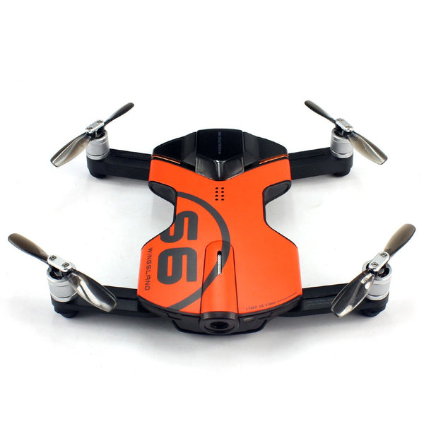 Clearance WINGSLAND Manta Smart S6 Pocket Portable Drone Mini Aerial Remote Control Aircraft 4K HD Single Electric Orange