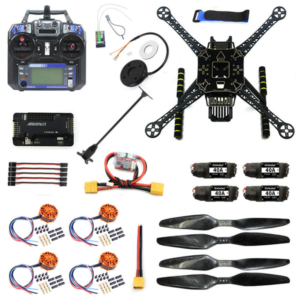 QWinOut DIY RC Drone 4 Axle FPV S600 Frame Kit with APM 2.8 No Compass Flysky FS-i6 6CH Transmitter 700KV Motor 40A ESC XT60