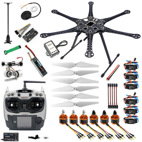 QWinOut Assembled HMF S550 F550 Upgrade RTF Kit with Landing Gear & APM 2.8 Flight Controller GPS Compass & Gimbal