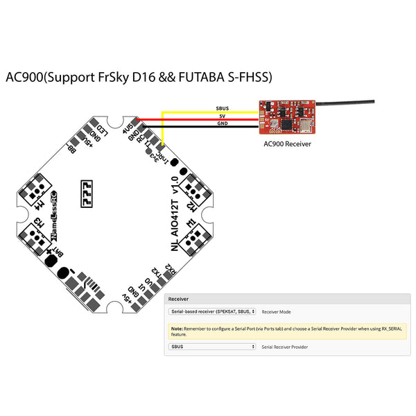 FullSpeed NameLessRC AIO412T F4 AIO F411 Flight Controller+12A ESC 2-4S HV DShot600 for DIY FPV Racing Drone Quadcopter