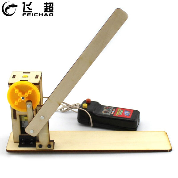FEICHAO DIY Wooden Door Model Remote Control STEM Toys Educational Learning Gateway Door Model Electric Teaching Aids