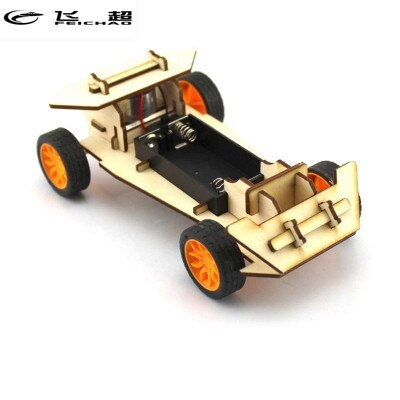 Feichao DIY Mini Wood Electronic Power Vehicle Model Kit 4WD Handmade Scientific Experiments Education Toys for Kids Gift