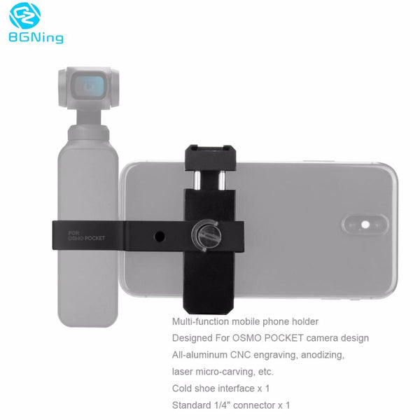 Clearance SHENSTAR For DJI OSMO Pocket Accessories Smart Phone Metal Clip for 60mm-90mm Cellphone CNC Aluminum Alloy Cold Shoe Gimbal Bracket Mount