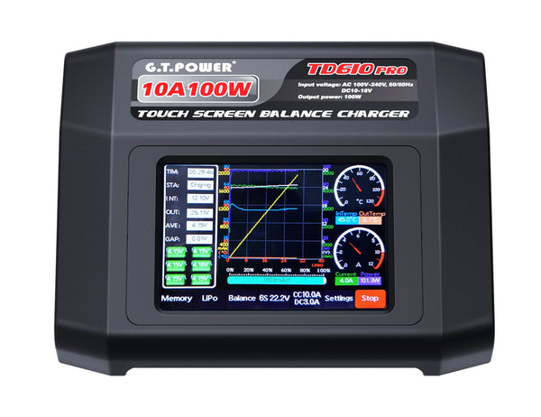 G.T.Power  GTP TD610 PRO AC 100-240V Input Color Touch Screen 100W 10A Balance Charger for 1-6S LiPo Lilon LiFe LiHV 1-14S  NiMH/ NiCd