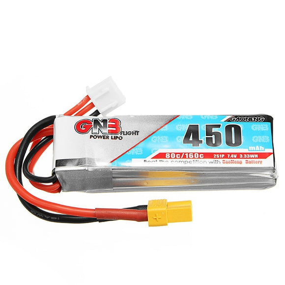 Gaoneng GNB 7.4V 2S 450MAH 80C Rechargeable Lipo Battery XT30 Plug Connector For RC Racing Drones FPV Quadcopter