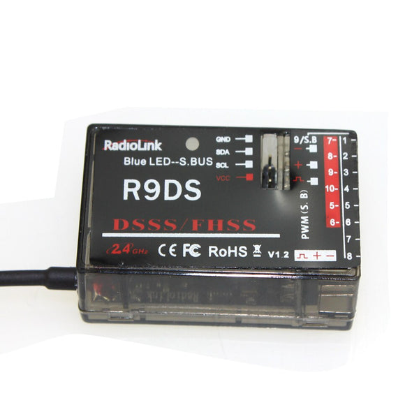 RadioLink R9DS 2.4G 9CH DSSS Receiver for RadioLink AT9 AT10 Transmitter RC Helicopter Multirotor Support S-BUS