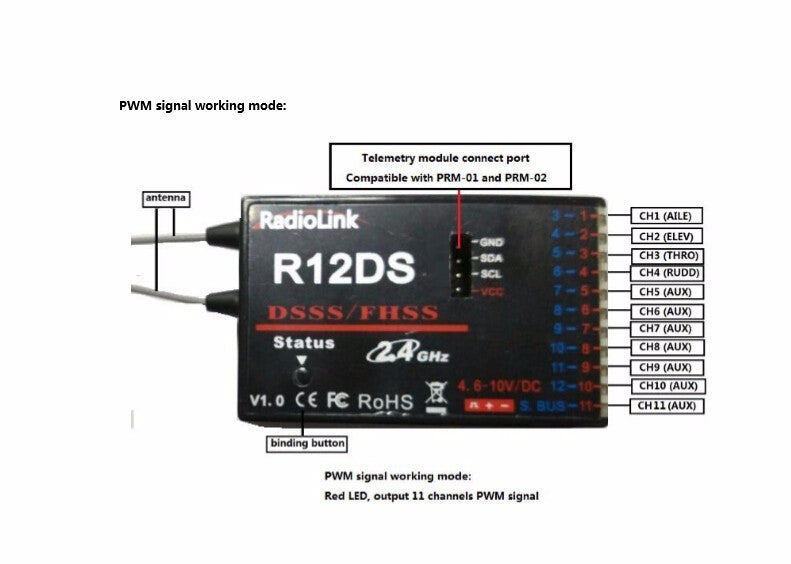 RadioLink R12DS 12CH Receiver 2.4Ghz For AT10 Transmitter Aircraft Aerial Photography Device control