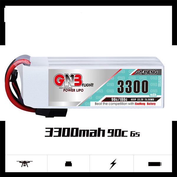 Gaoneng GNB 3300mah 6S 22.2V 90C Lipo Battery XT60 XT90 Plug High Performance Lithium Battery for Fixed Wing Vehicle Model Ship  RC FPV Racing Drone Quadcopter