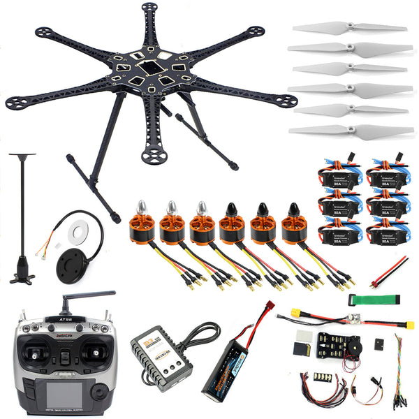 QWinOut DIY FPV Drone Hexacopter 6-axle Aircraft Kit HMF S550 Frame PXI PX4 Flight Control 920KV Motor GPS AT9 Transmitter