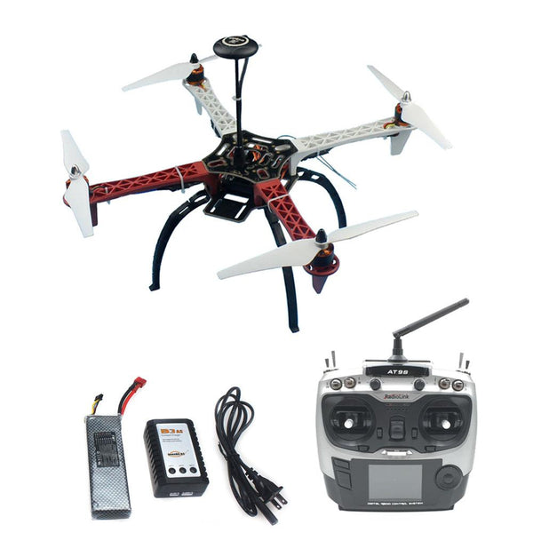 QWinOut DIY Drone Assembled HJ 450 F450 4-Aixs RFT Full Kit with APM 2.8 Flight Controller GPS Compass with AT9S Transmitter No Gimbal