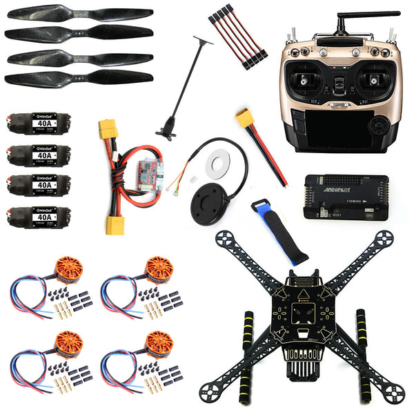 QWinOut DIY 4 Axle RC FPV Drone S600 Frame Kit with APM 2.8 Flight Control No Comapss AT9S Transmitter 700KV Motor 40A ESC GPS