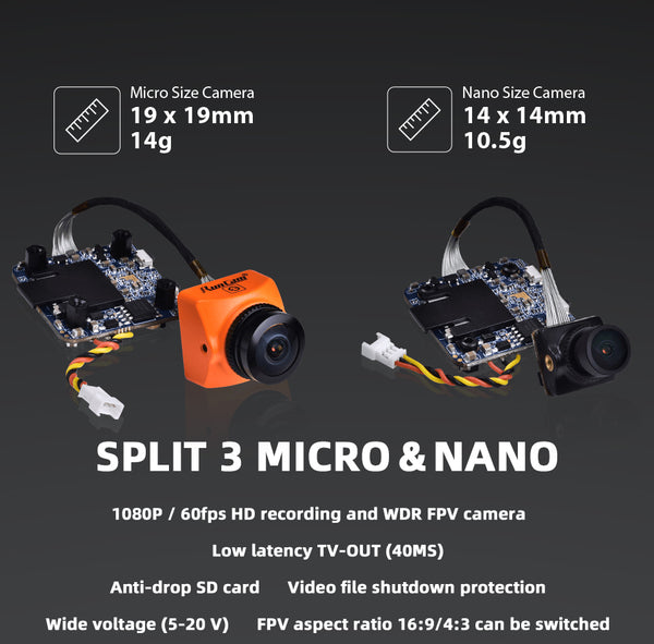 RunCam Split 3 Micro & Split 3 Nano 1080P/60fps HD recording WDR FPV camera PAL/NTSC Switchable 40ms Low latency for DIY RC Drone FPV Quadcopter