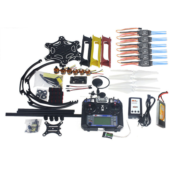 QWinOut Full Set RC Drone MultiCopter Aircraft Kit F550 Hexa-Rotor Air Frame GPS APM2.8 Flight Control Flysky FS-i6 DIY RC Drone Kit