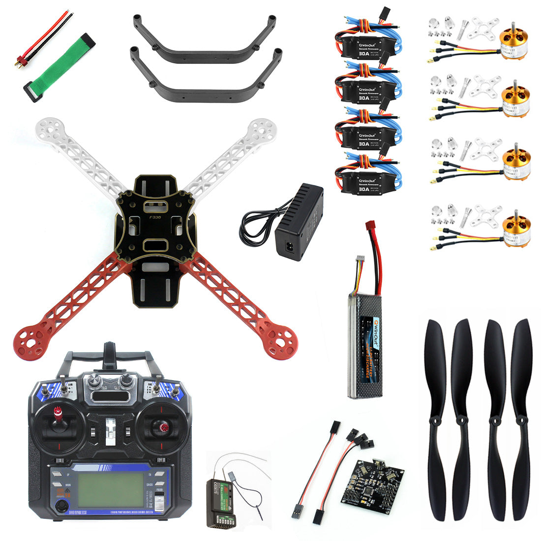 QWinOut Full Set DIY RC Drone Quadrocopter 4-axis Aircraft Kit F330 MultiCopter Frame KK XCOPTER Flight Control Transmitter