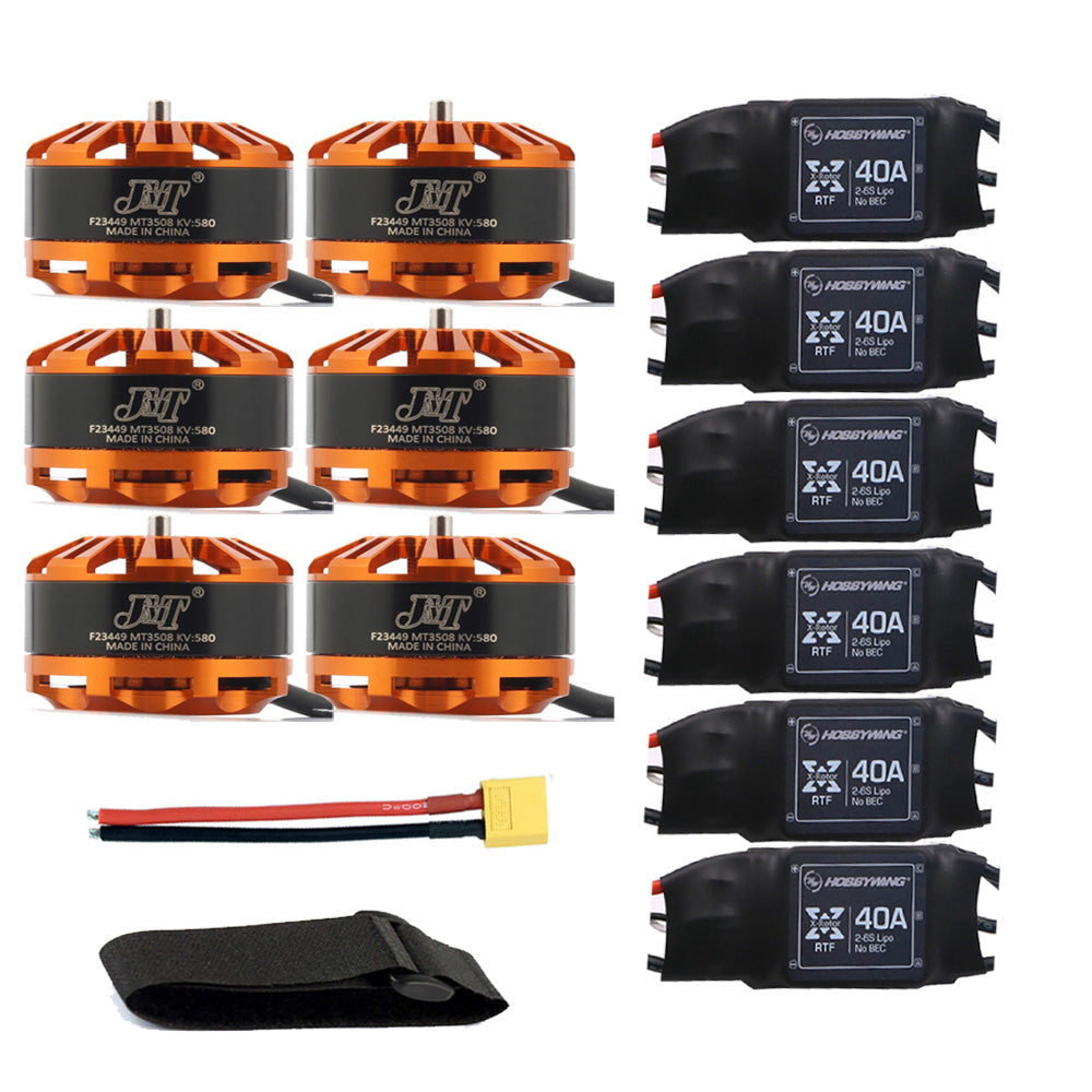 QWinOut DIY 6-axis Aircraft Hexcopter Motor Combo 6pcs 3508 580kv Motor + 6pcs Hobbywing XRotor 40A ESC + XT60 Connector+Fastening Tape