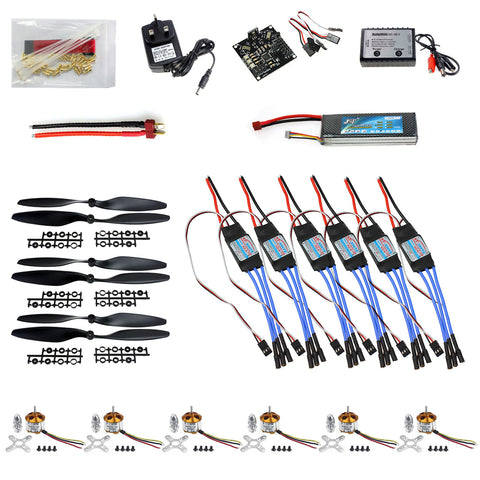 QWinOut DIY RC HexaCopter Parts: KK Multicopter V2.3 Hex-Rotor Flight Controller 30A ESC A2212 Motor Battery Propellers for F550