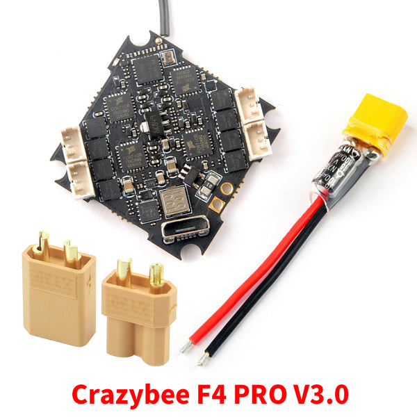 Happymodel Crazybee F4 PRO V3.0 Flight Controller with XT30 Connector & Power Cable Blheli_S 10A 2-4S Brushless ESC compatible Frsky/ Flysky Receiver for Cinecan 4K Racing Drone