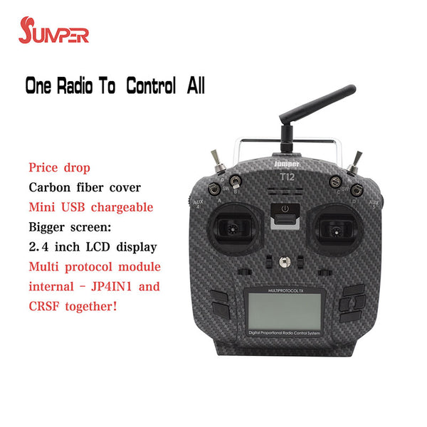 Jumper T12 Pro Hall Open Source 16ch Radio with JP4-in-1 Multi-protocol RF Module With HALL Gimbal with Battery for RC Drone Car Boat