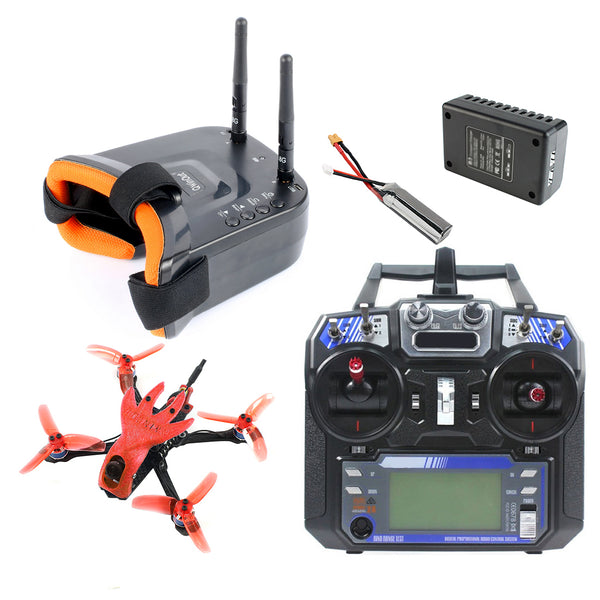 QWinOut Featherbird-135 Brushless FPV Racing Drone 2S 135mm DIY RC Quadcopter FPV Goggles RTF with MiniF4 FC Flysky FS I6 Remote Controller